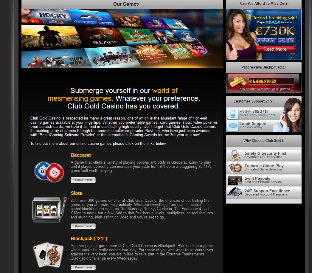 Club Gold Casino Bonus Code November 2017
